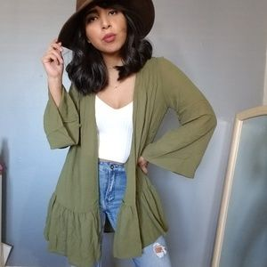 Sweaters - GOOD TO BE OLIVE  GREEN RUFFLE CARDIGAN